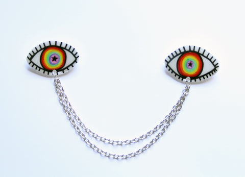 Rainbow Eye Collar Clips