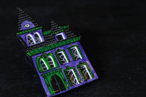 Haunted House Brooch in Purple