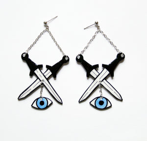 Sword Earrings//Eyes