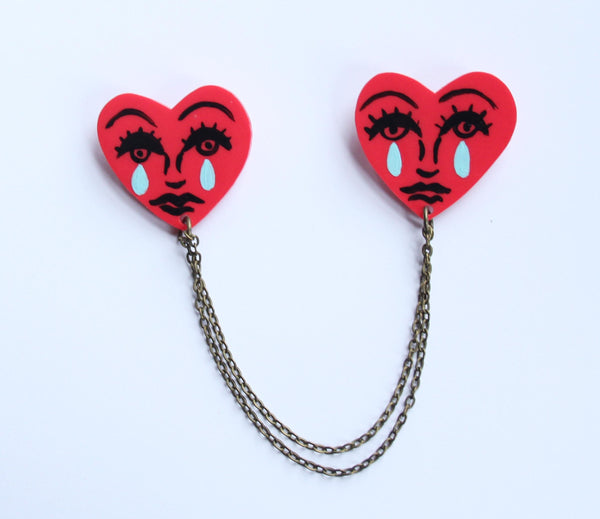 Sad Heart Collar Clips