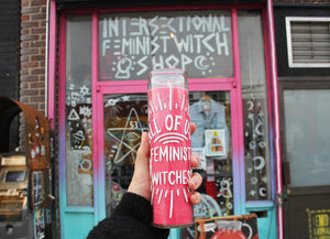 All of Us Feminist Witches Candle in Pink