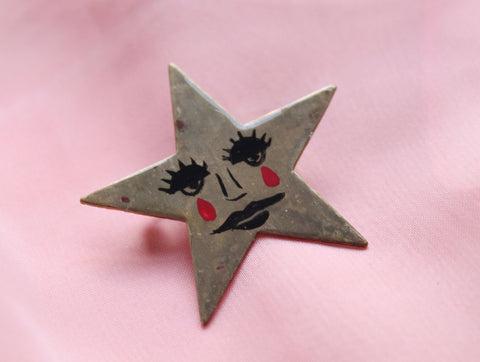 Hand Painted Antique Star Brooch