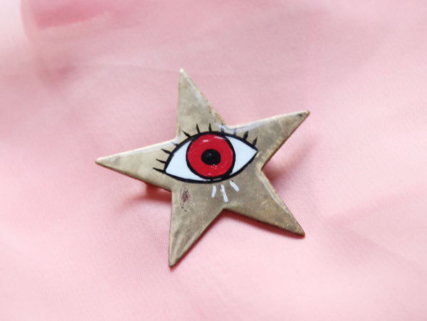 Hand Painted Red Eye Antique Star Brooch / Pin