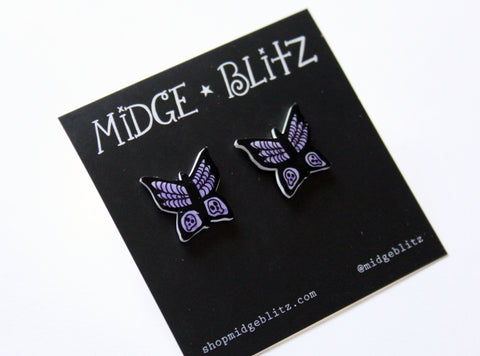 Goth Butterfly Post Earrings