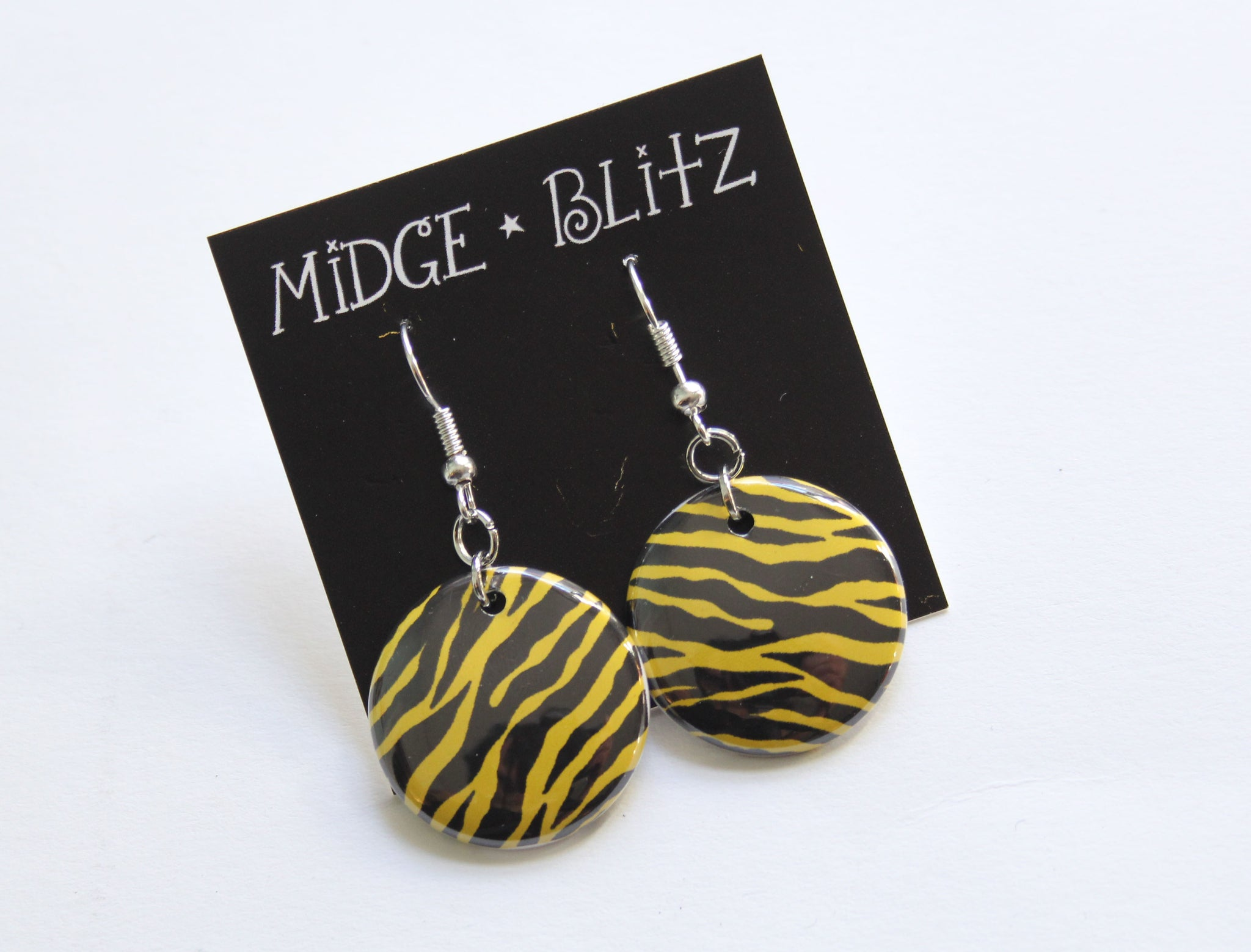 Lime Green Zebra Earrings