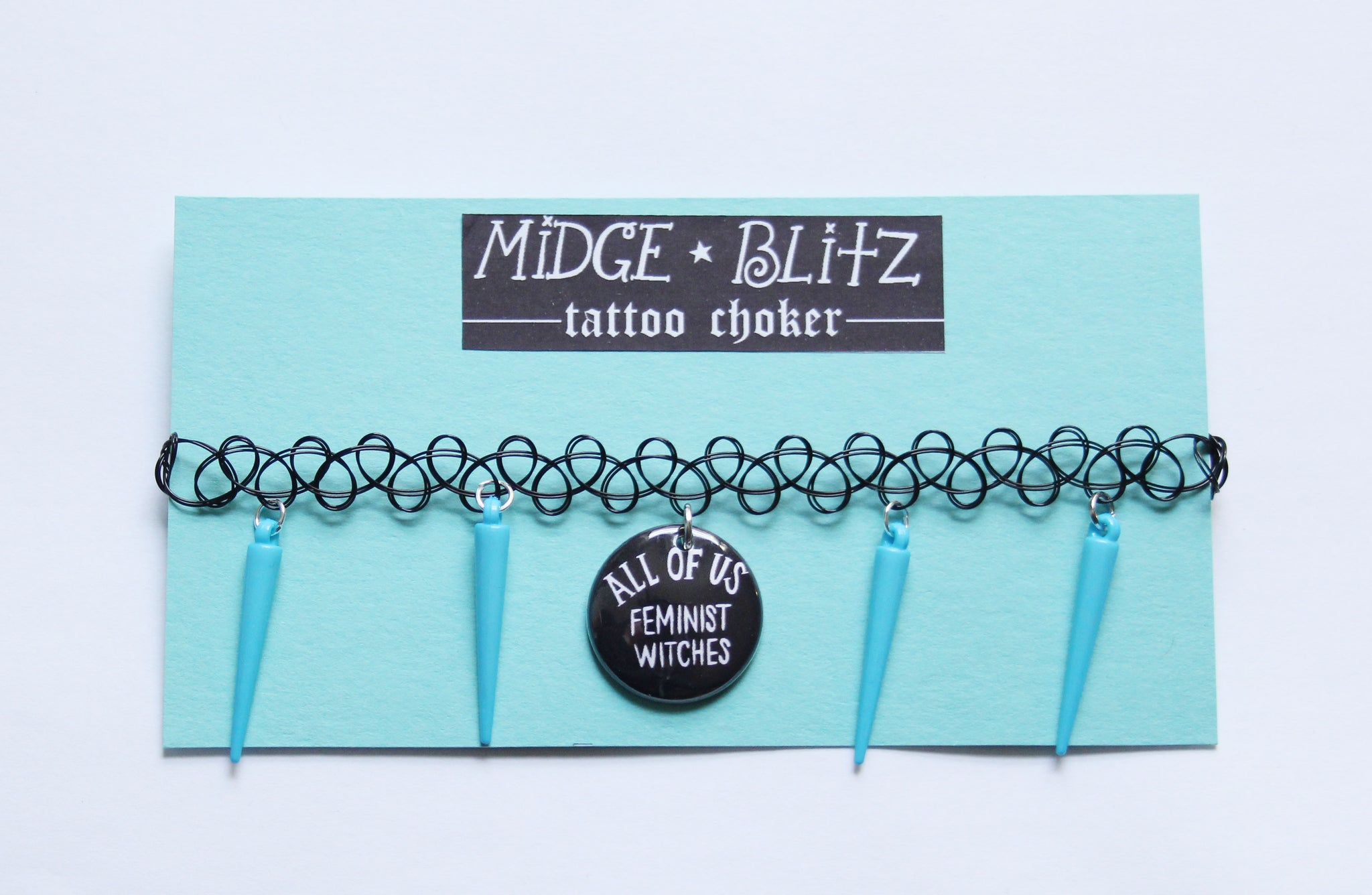 All of Us Feminist Witches Tattoo Choker w Blue Spikes