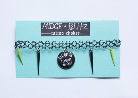 All of Us Feminist Witches Tattoo Choker w Green/Gunmetal Spikes