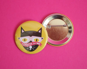Feminism is Cool Cat 2.25 Inch Button