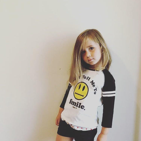 Don't Tell me to Smile Kid's Black Raglan Tee