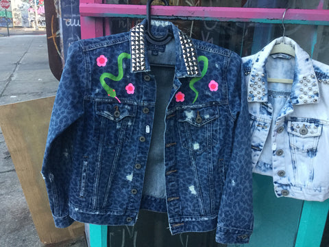 Ahh sweet death denim jacket Snakes small