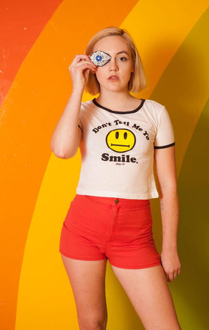 Don't Tell me to Smile ringer cropped tee