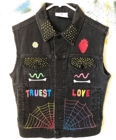 Ahh sweet death hand painted vest