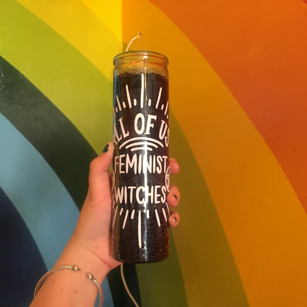 All of Us Feminist Witches Candle in Black