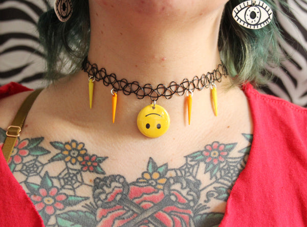 Upside Down Smiley Face Tattoo Choker