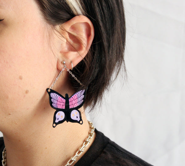 Goth Butterfly Dangley Earrings