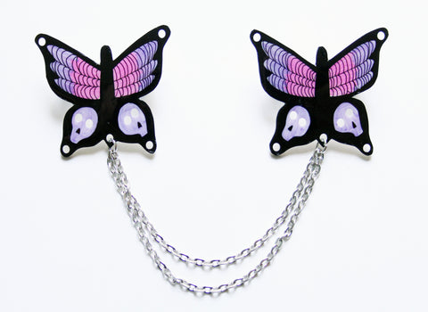 Goth Butterfly Collar Clips