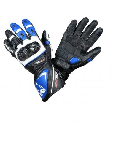 Bela Rocket Long Nero/Blue/Bianco Guanto da Motociclista