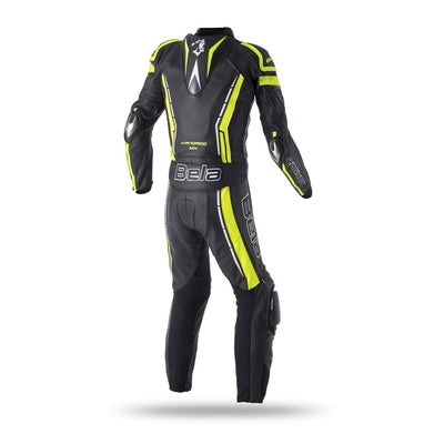 Bela Rocket Nero giallo 2PC Tute in Pelle Di Canguro Mix Uomo