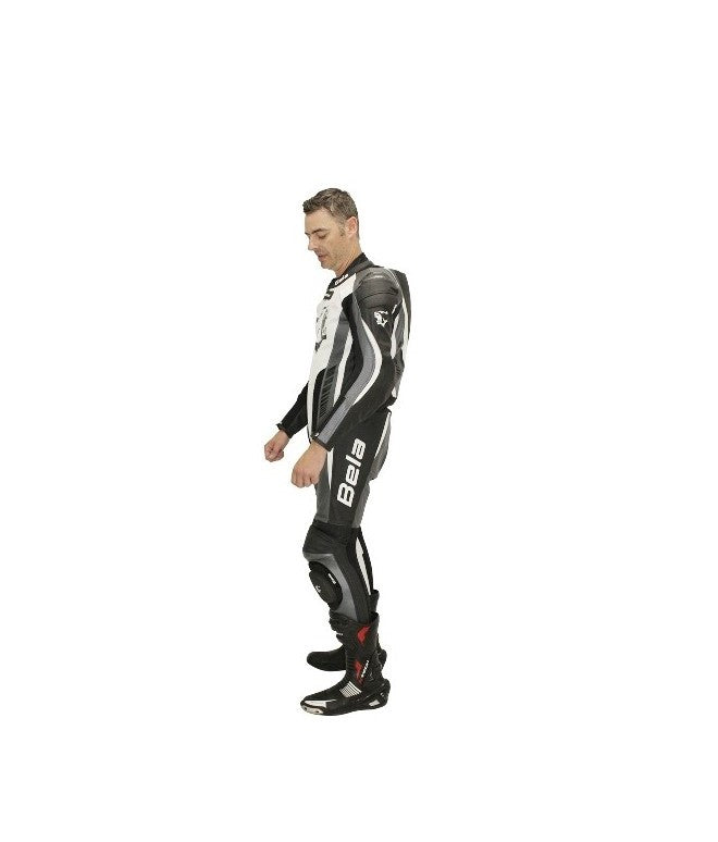 Bela Speed Star Nero bianco 1PC Tute da Moto in Pelle Uomo