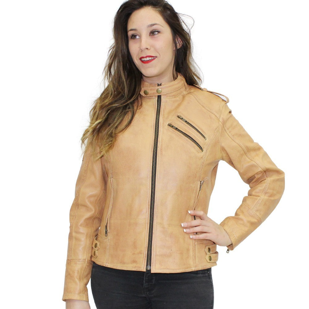 R-Tech Bold Lady Toupe Giacca in pelle