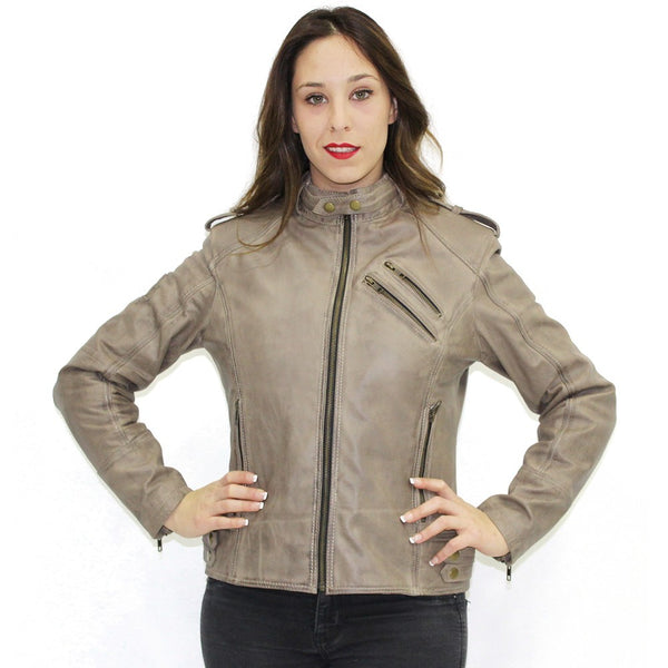 R-Tech Bold Lady Tan Cammello Giacca in pelle