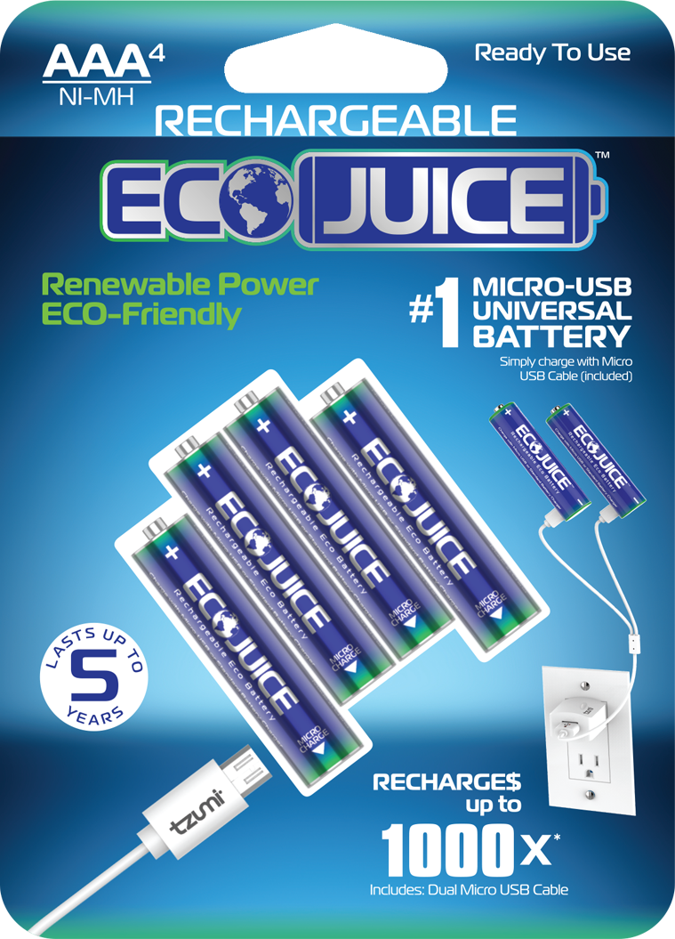 EcoJuice Rechargeable Ni-MH Micro-USB Battery 4-Pack