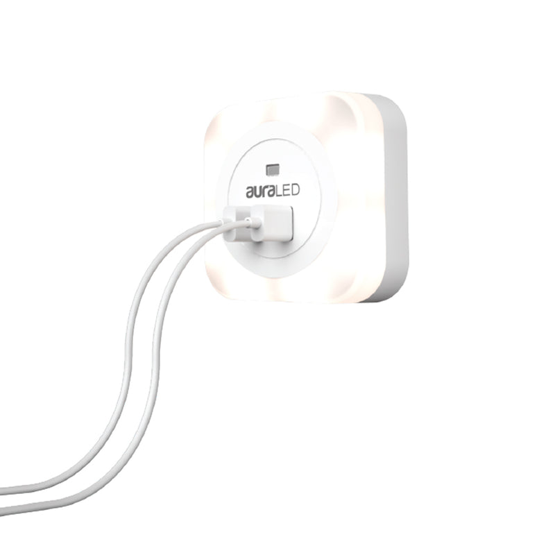 auraLED Dual USB Night Light for AC Wall Sockets