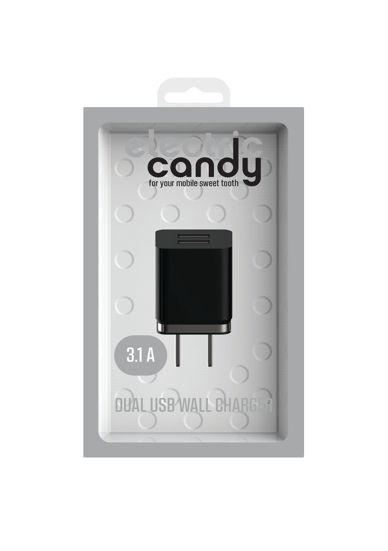 Electric Candy Dual-USB AC Wall Charging Adapter
