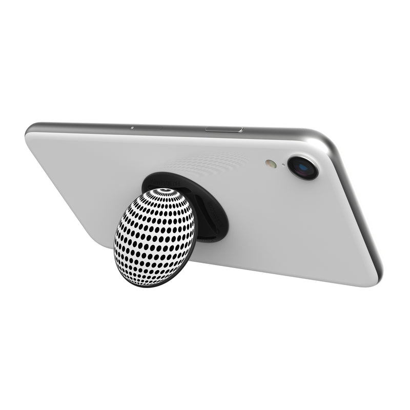 Original nuckees Phone Grip - Black and White Techno Globe