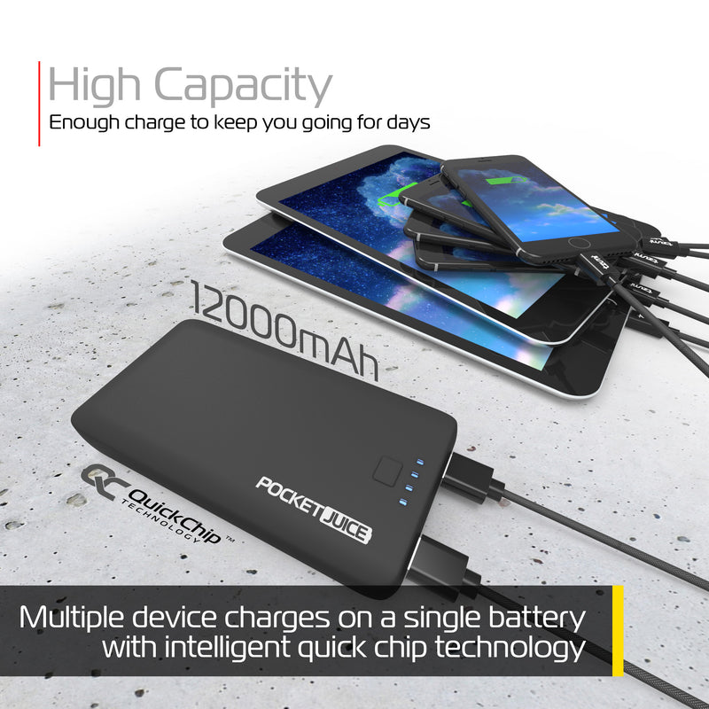 PocketJuice Endurance AC 12,000 mAh Portable Charger (Black)
