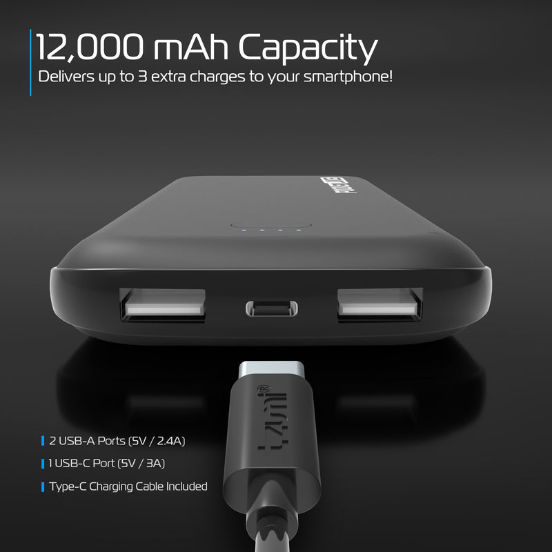 PocketJuice 12,000 mAh Portable Charger Bundle (Curve Series)