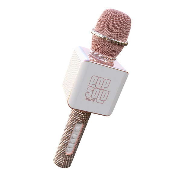 PopSolo Bling Bluetooth Karaoke Microphone with Rhinestone Shell (Rose Gold)