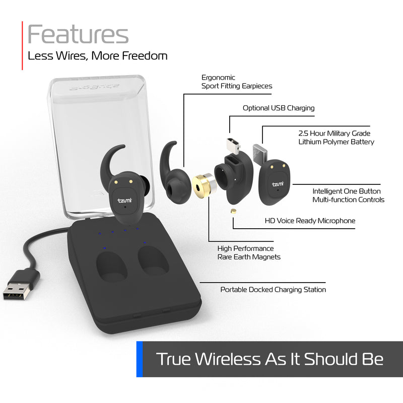 True Wireless Bluetooth Earbuds with Protective Charging Case