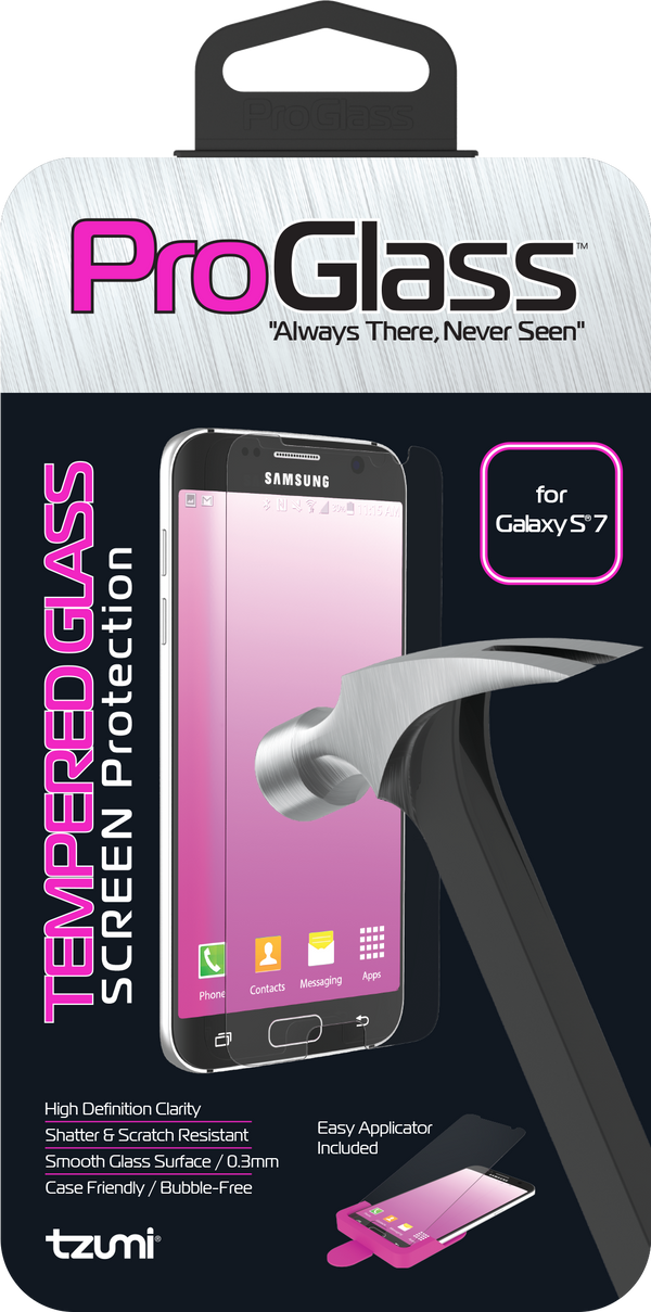ProGlass for Samsung Galaxy S7 – Premium Tempered Glass Screen Protector with Application & Cleaning Kit