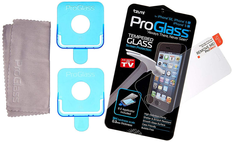ProGlass for iPhone 5/SE – Premium High Definition Tempered Glass Screen Protector with Application & Cleaning Kit