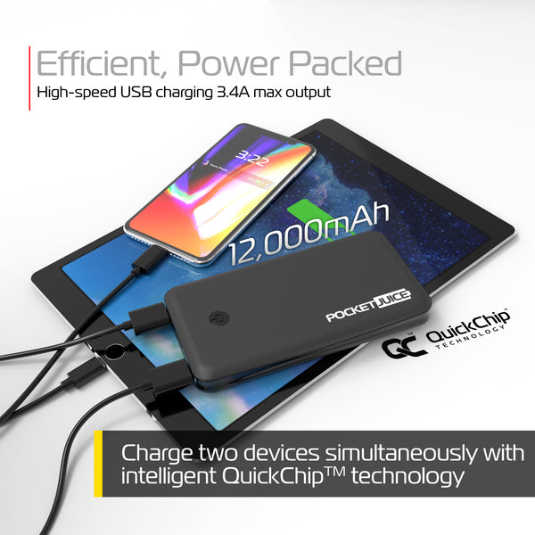 PocketJuice Endurance Slim 12,000 mAh Portable Charger (Black)