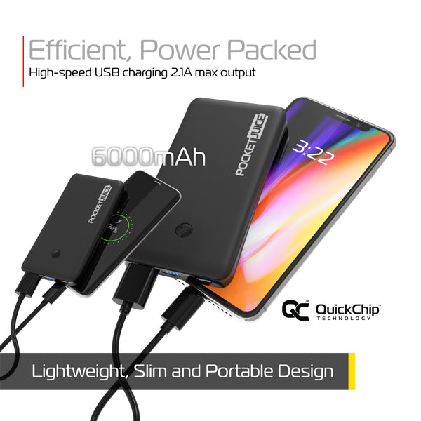 PocketJuice Endurance Slim 6,000 mAh Portable Charger (Black)