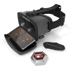 Dream Vision VR Adult Unisex Smartphone Headset with Bluetooth Remote Controller & Wired Retractable Earbuds