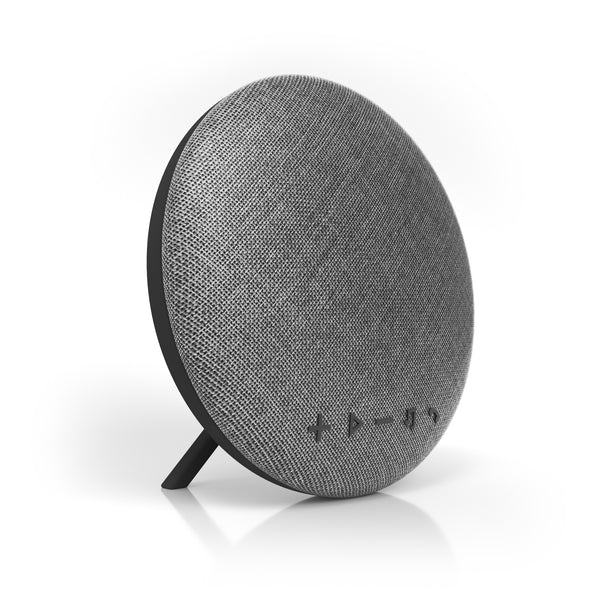 Deco Series Large Round Fabric Bluetooth Speaker (Gray)