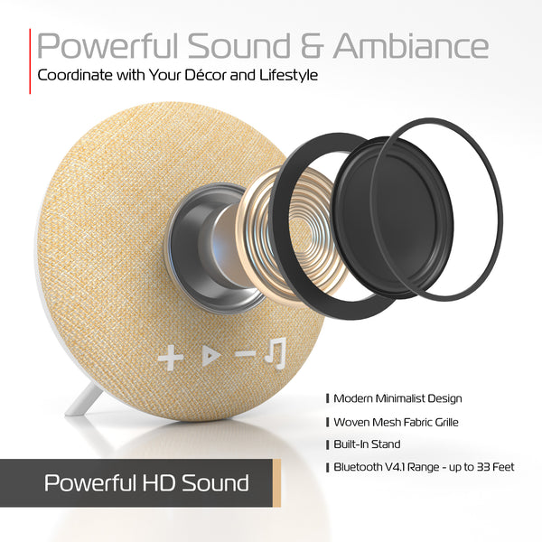 Deco Series Small Round Fabric Bluetooth Speaker