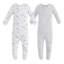 Load image into Gallery viewer, 100% Cotton Zip Footed Pajamas - 2 Pack - Blue Star & Grey Melange