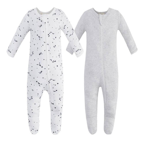 100% Cotton Zip Footed Pajamas - 2 Pack - Blue Star & Grey Melange