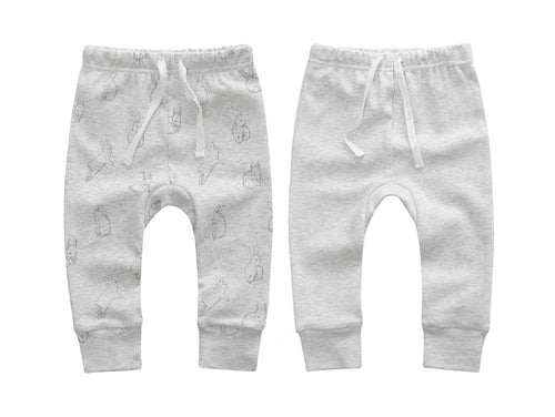 100% Cotton Joggers - 2 pack - Grey Melange and Grey Rabbits