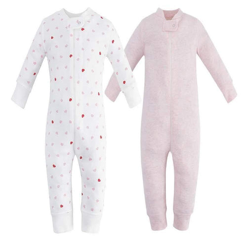 100% Cotton Footless Zip Pajamas - 2 pack - Pink Hearts & Pink Melange