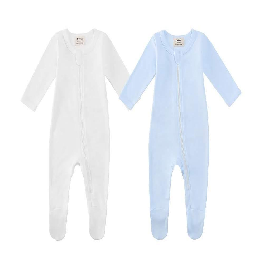 100% Cotton Zip Footed Pajamas - 2 Pack - Off-White & Blue