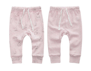 100% Cotton Joggers - 2 pack - Pink Melange and Pink Rabbits