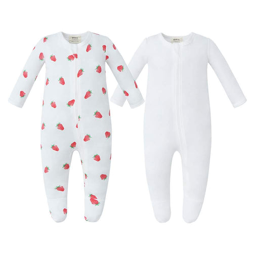 100% Cotton Zip Footed Pajamas - 2 Pack - Strawberry & Off-White