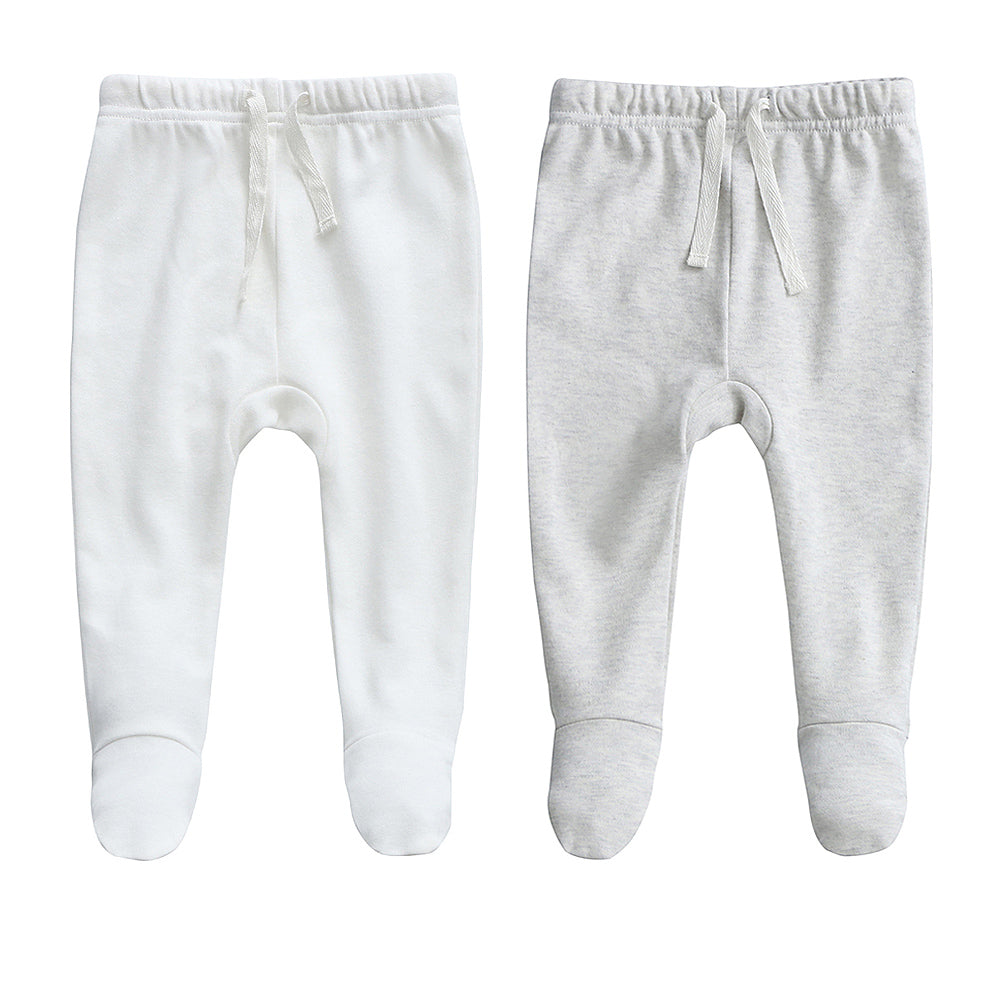 100% Cotton Footed Joggers - 2 pack - White and Grey Melange