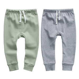 100% Cotton Joggers - 2 pack - Sage and Grey Melange
