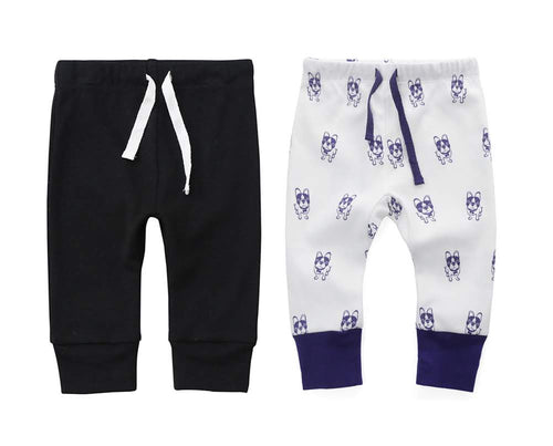 100% Cotton Joggers - 2 pack - Black and Violet Dogs